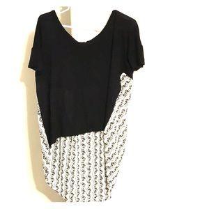 Black & White Tunic- High Front Hem Long Back Hem